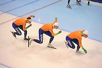 SCHAATSEN: HEERENVEEN: IJsstadion Thialf, 15-11-2012, World Cup Training, Seizoen 2012-2013, Sven Kramer, Jan Blokhuijsen, Koen Verweij, ©foto Martin de Jong