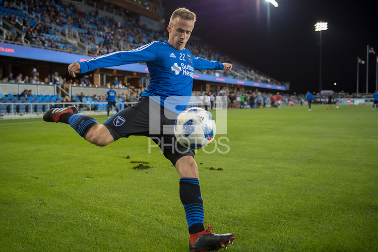 San Jose, CA - Thursday January 21, 2016: Tommy Thompson prior to a Major League Soccer (MLS) match between the San Jose Earthquakes and the New York Red Bulls at Avaya Stadium.