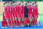 Belgian team during their national anthem before Argentina vs Belgium  in the men's gold medal game at the Rio 2016 Olympics at the Olympic Hockey Centre in Rio de Janeiro, Brazil.