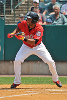 Aaron Hicks (32) of the New Britain Rock Cats bats during a game against the Altoona Curve at New Britain Stadium on July 23, 2014 in New Britain, Connecticut.  Altoona defeated New Britain 8-5. (Gregory Vasil/Four Seam Images)
