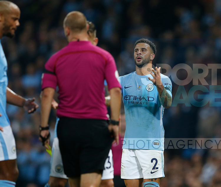 Kyle Walker of Manchester City gets his second yellow card during the Premier League match at the Eithad Stadium, Manchester. Picture date 21st August 2017. Picture credit should read: Simon Bellis/Sportimage