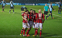 Celebrations as Shaun Miller (left) of Morecambe scores the first goal during the Sky Bet League 2 match between Wycombe Wanderers and Morecambe at Adams Park, High Wycombe, England on 2 January 2016. Photo by Kevin Prescod / PRiME Media Images