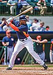 12 March 2014: Houston Astros outfielder L.J. Hoes in action during a Spring Training game against the Washington Nationals at Osceola County Stadium in Kissimmee, Florida. The Astros rallied in the bottom of the 9th to edge out the Nationals 10-9 in Grapefruit League play. Mandatory Credit: Ed Wolfstein Photo *** RAW (NEF) Image File Available ***
