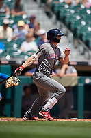 Lehigh Valley IronPigs Rob Brantly (6) hits a single during an International League game against the Buffalo Bisons on June 9, 2019 at Sahlen Field in Buffalo, New York.  Lehigh Valley defeated Buffalo 7-6 in 11 innings.  (Mike Janes/Four Seam Images)