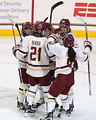 Toni Ann Miano (BC - 18), Makenna Newkirk (BC - 19), Andie Anastos (BC - 23), Lexi Bender (BC - 21), Dana Trivigno (BC - 8) - The Boston College Eagles defeated the visiting UConn Huskies 4-0 on Friday, October 30, 2015, at Kelley Rink in Conte Forum in Chestnut Hill, Massachusetts.
