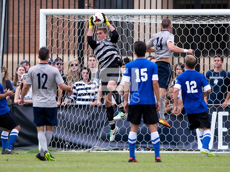 Connor Sparrow (0) of Creighton hauls in a save during the game at Shaw Field on the campus of the Georgetown University in Washington, DC.  Georgetown tied Creighton, 0-0, in double overtime.