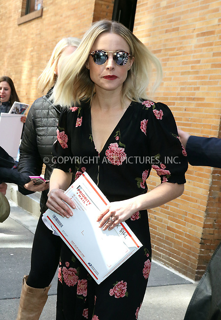 www.acepixs.com<br /> <br /> March 23 2017, New York City<br /> <br /> Actress Kristen Bell leaving ABC Studios on March 23 2017 in New York City<br /> <br /> By Line: Philip Vaughan/ACE Pictures<br /> <br /> <br /> ACE Pictures Inc<br /> Tel: 6467670430<br /> Email: info@acepixs.com<br /> www.acepixs.com