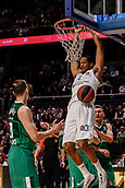 22nd March 2018, Wizink Centre, Madrid, Spain; Turkish Airlines Euroleague Basketball, Real Madrid versus Zalgiris Kaunas; Anthony Randolph (Real Madrid Baloncesto) hangs from the net after a dunk