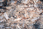 Wood chips at construction site with overhead view looking like an abstract painting,
