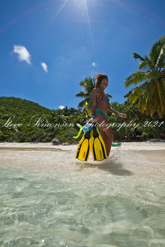 Young woman with snorkel gear<br />