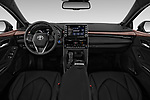 Stock photo of straight dashboard view of a 2019 Toyota Avalon XLE Hybrid 4 Door Sedan