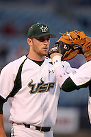 "University of South Florida Kevin Quackenbush #20 during a game vs. the Miami Hurricanes in the ""Florida Four"" at George M. Steinbrenner Field in Tampa, Florida;  March 1, 2011.  USF defeated Miami 4-2.  Photo By Mike Janes/Four Seam Images"