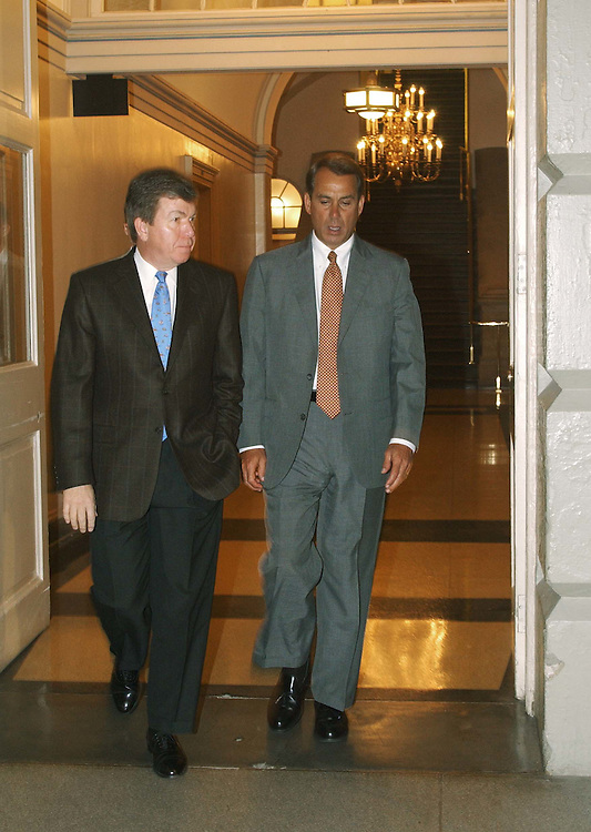 11/20/04.HOUSE GOP CONFERENCE MEETING--House Majority Whip Roy Blunt, R-Mo., and House Education and Workforce Chairman John A. Boehner, R-Ohio, arrive for a House Republican conference meeting during a break in floor action on the omnibus bill and amid growing confirmation that a deal has been struck in the intelligence reform conference..CONGRESSIONAL QUARTERLY PHOTO BY SCOTT J. FERRELL
