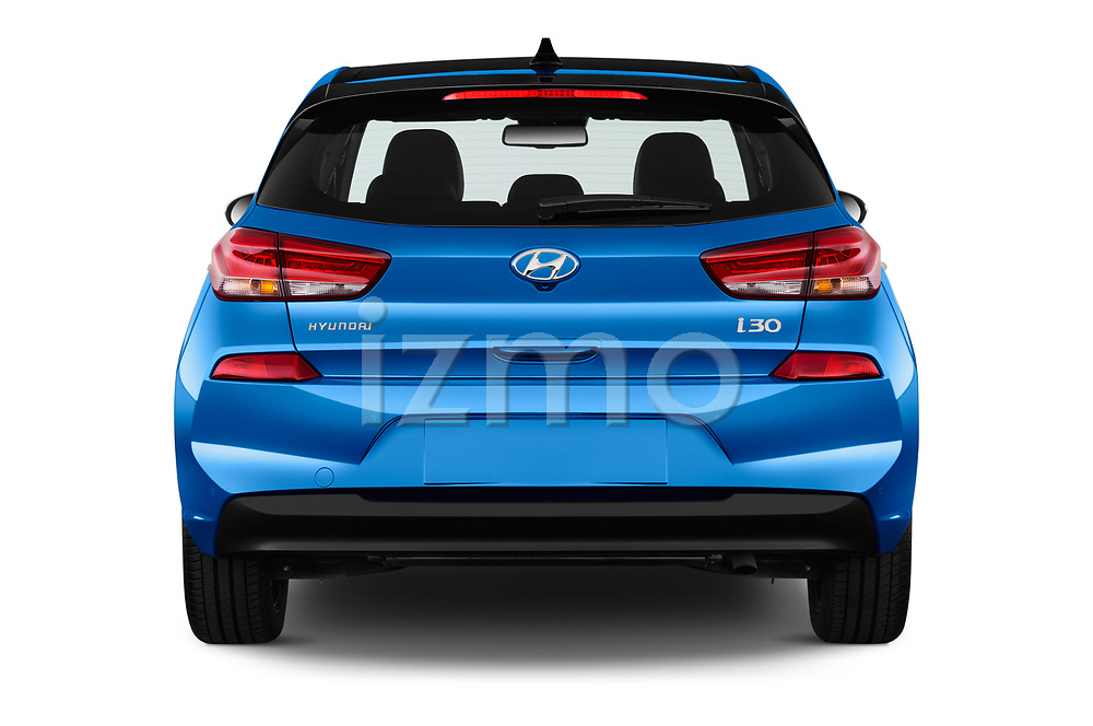 Straight rear view of 2017 Hyundai i30 Luxury-Launch-Edition 5 Door Hatchback Rear View  stock images