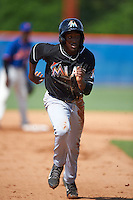 GCL Marlins outfielder Isaiah White (12) running the bases during the first game of a doubleheader against the GCL Mets on July 24, 2015 at the St. Lucie Sports Complex in St. Lucie, Florida.  GCL Marlins defeated the GCL Mets 5-4.  (Mike Janes/Four Seam Images)