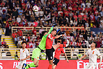 China Goalkeeper Yan Junling (L) blocks an attempt on goal of Jung Wooyoung of South Korea (R) during the AFC Asian Cup UAE 2019 Group C match between South Korea (KOR) and China (CHN)  at Al Nahyan Stadium on 16 January 2019 in Abu Dhabi, United Arab Emirates. Photo by Marcio Rodrigo Machado / Power Sport Images