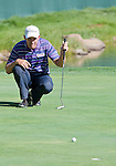 August 5, 2012: Padraig Harrington from Dublin, Ireland lines up a putt on the 18th hole during the final round of the 2012 Reno-Tahoe Open Golf Tournament at Montreux Golf & Country Club in Reno, Nevada.