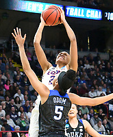 No. 1 ranked Connecticut defeats Duke 72-59 in the Sweet Sixteen round of the NCAA tournament on March 24, 2018 at the Times Union Center in Albany, New York.  (Bob Mayberger/Eclipse Sportswire)