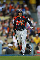 Norichika Aoki of Japan during a game against Korea at the World Baseball Classic at Dodger Stadium on March 23, 2009 in Los Angeles, California. (Larry Goren/Four Seam Images)