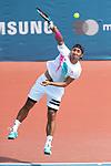 Yasutaka Uchiyama (JPN), <br /> AUGUST 20, 2018 - Tennis : <br /> Men's Singles Round of 32 <br /> at Jakabaring Sport Center Tennis Court <br /> during the 2018 Jakarta Palembang Asian Games <br /> in Palembang, Indonesia. <br /> (Photo by Yohei Osada/AFLO SPORT)