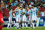 Argentina squad celebrating a goal during the International Test match between Argentina and Singapore at National Stadium on June 13, 2017 in Singapore. Photo by Marcio Rodrigo Machado / Power Sport Images