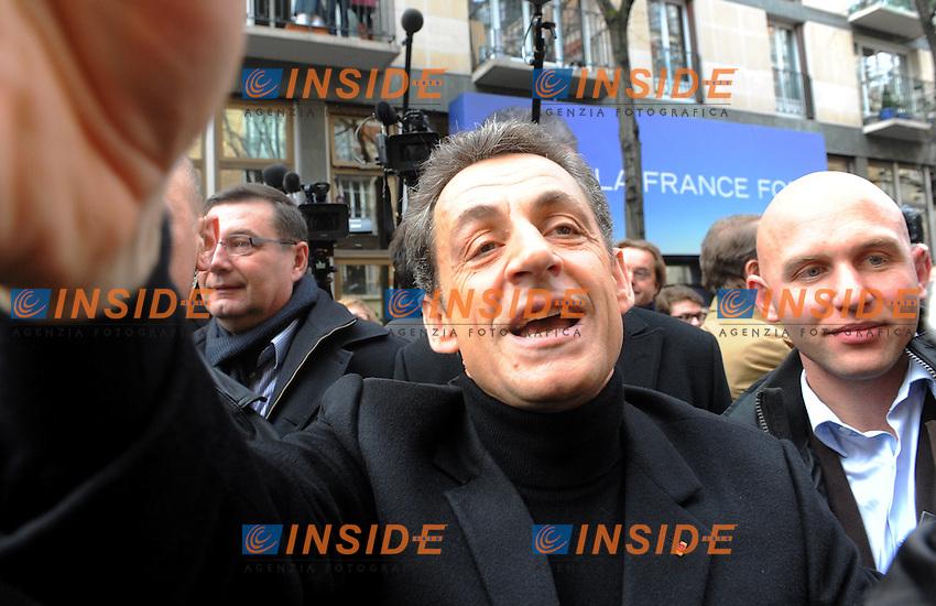Nicolas Sarkozy.Inaugurazione Quartier Generale della campagna elettorale per le elezioni Presidenziali 2012.Foto Insidefoto / Christian Liewig / FEP / Panoramic.ITALY ONLY