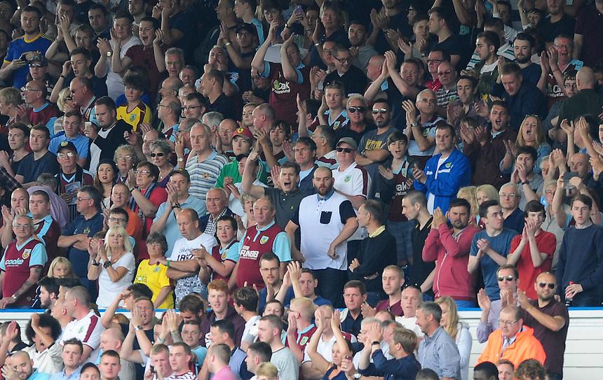 Burnley fans before kick off<br /> <br /> Photographer Chris Vaughan/CameraSport<br /> <br /> Football - The Football League Sky Bet Championship - Leeds United  v Burnley - Saturday 8th August 2015 - Elland Road - Beeston - Leeds<br /> <br /> &copy; CameraSport - 43 Linden Ave. Countesthorpe. Leicester. England. LE8 5PG - Tel: +44 (0) 116 277 4147 - admin@camerasport.com - www.camerasport.com
