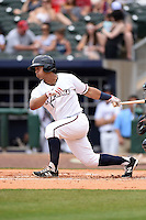 NW Arkansas Naturals third baseman Cheslor Cuthbert (11) at bat during a game against the Corpus Christi Hooks on May 26, 2014 at Arvest Ballpark in Springdale, Arkansas.  NW Arkansas defeated Corpus Christi 5-3.  (Mike Janes/Four Seam Images)