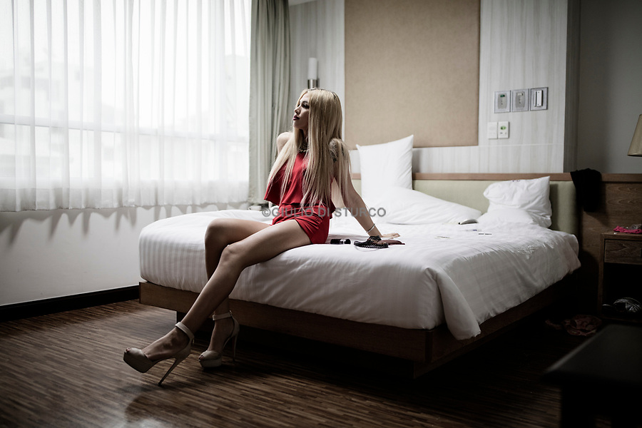 A russian patient in her room at Kamol Hospital on February 16th 2016 in Bangkok, Thailand. <br />22 year old Agnes Landau had her sex reassignment surgery at Kamol Hospital on January 20th. She comes from the muslim south of Moscow, Russia. Her mother is from the middle east and father from Russia. <br />© Giulio Di Sturco