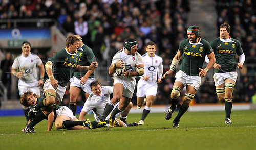 27.11.2010. Hendre Fourie of England charges forward. International Rugby England vs South Africa at Twickenham Stadium, England.
