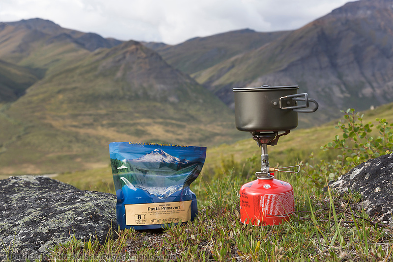 Camp stove and mountain house dehydrated camping food, Gates of the Arctic National Park, Alaska