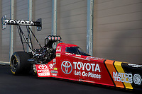 Sep 13, 2013; Charlotte, NC, USA; A portrait of the car of NHRA top fuel dragster driver Antron Brown prior to qualifying for the Carolina Nationals at zMax Dragway. Mandatory Credit: Mark J. Rebilas-