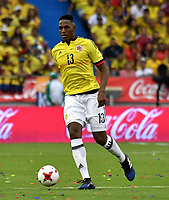 BARRANQUILLA – COLOMBIA - 23 – 03 -2017: Yerry Mina, jugador de Colombia en accion, durante partido entre los seleccionados de Colombia y Bolivia, de la fecha 13 válido por la clasificación a la Copa Mundo FIFA Rusia 2018, jugado en el estadio Metropolitano Roberto Melendez en Barranquilla. /  Yerry Mina of Colombia in action, during match between the teams of Colombia and Bolivia, of the date 13 valid for the Qualifier to the FIFA World Cup Russia 2018, played at Metropolitan stadium Roberto Melendez in Barranquilla. Photo: VizzorImage / Luis Ramirez / Staff.