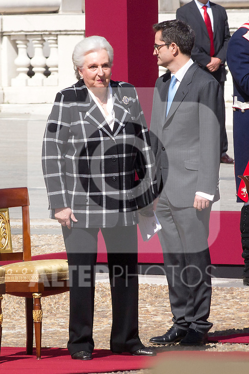 01.10.2012. The Spanish Royal Family, King Juan Carlos, Queen Sofia, Prince Felipe, Princess Letizia and Princess Elena attend the imposition of collective Distinguished Cross San Fernando Al Banner Armored Cavalry Regiment ´Alcántara´ No. 10 in the Royal Palace in Madrid, Spain. In the image Duchess of Badajoz, Princess Pilar de Borbon (Alterphotos/Marta Gonzalez)