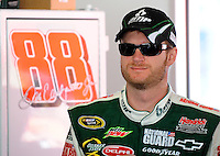 Feb 07, 2009; Daytona Beach, FL, USA; NASCAR Sprint Cup Series driver Dale Earnhardt Jr during practice for the Daytona 500 at Daytona International Speedway. Mandatory Credit: Mark J. Rebilas-