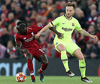 Liverpool's Sadio Mane holds off the challenge from Barcelona's Ivan Rakitic<br /> <br /> Photographer Rich Linley/CameraSport<br /> <br /> UEFA Champions League Semi-Final 2nd Leg - Liverpool v Barcelona - Tuesday May 7th 2019 - Anfield - Liverpool<br />  <br /> World Copyright © 2018 CameraSport. All rights reserved. 43 Linden Ave. Countesthorpe. Leicester. England. LE8 5PG - Tel: +44 (0) 116 277 4147 - admin@camerasport.com - www.camerasport.com