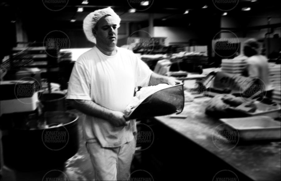 Baker readys fresh dough for bread making