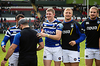 Ruaridh McConnochie of Bath Rugby is all smiles after the match. Gallagher Premiership match, between Leicester Tigers and Bath Rugby on May 18, 2019 at Welford Road in Leicester, England. Photo by: Patrick Khachfe / Onside Images