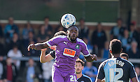 Hiram Boateng of Plymouth Argyle wins the ball in the air during the Sky Bet League 2 match between Wycombe Wanderers and Plymouth Argyle at Adams Park, High Wycombe, England on 12 September 2015. Photo by Andy Rowland.