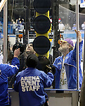 SIOUX FALLS, SD - JANUARY 17:  Members from the Arena staff replace a broken glass in the first period Friday night at the Sioux Falls Arena. (Photo by Dave Eggen/Inertia)