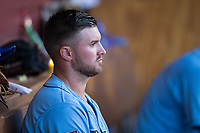 Durham Bulls designated hitter Mike Marjama (3) sits in the dugout during the game against the Buffalo Bisons at Durham Bulls Athletic Park on April 30, 2017 in Durham, North Carolina.  The Bisons defeated the Bulls 6-1.  (Brian Westerholt/Four Seam Images)