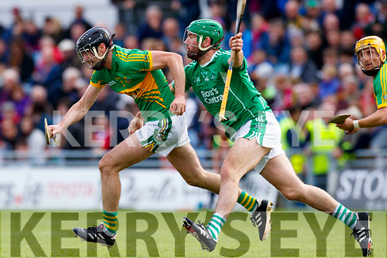 Mikey Boyle (Captain) Ballyduff in action against Declan McCarthy Lixnaw in the Senior County Hurling Final in Austin Stack Park on Sunday