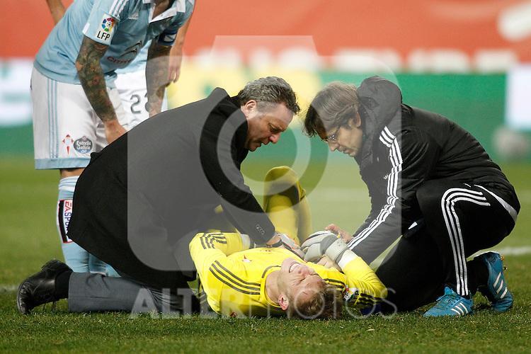 Celta de Vigo's Ruben Blanco injured during Spanish Kings Cup match. January 27,2016. (ALTERPHOTOS/Acero)