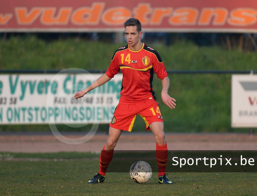 20140312 - MEULEBEKE , BELGIUM : Belgian Siebe Horemans pictured during a friendly soccer match between the Under16 soccerteams of Belgium and Slovakia , Wednesday 12 March 2014 in Meulebeke . PHOTO DAVID CATRY