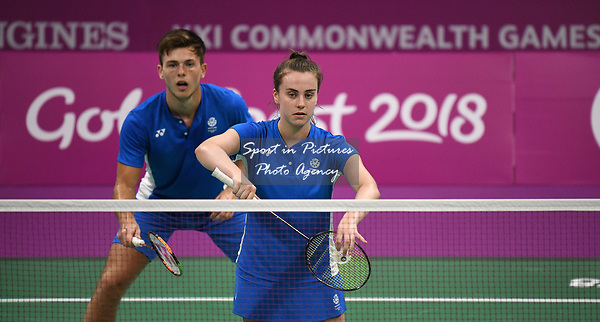 Eleanor O'DONNELL (SCO) serves in the mixed doubles. Badminton. Mixed team event. XXI Commonwealth games. Carrara Sports hall 2. Gold Coast 2018. Queensland. Australia. 05/04/2018. ~ MANDATORY CREDIT Garry Bowden/SIPPA - NO UNAUTHORISED USE - +44 7837 394578