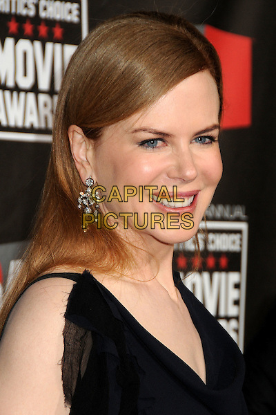 NICOLE KIDMAN .16th Annual Critics' Choice Movie Awards held at the Hollywood Palladium, Hollywood, California, USA, 14th January 2011..portrait headshot smiling black navy blue dangly earrings silver .CAP/ADM/BP.©Byron Purvis/AdMedia/Capital Pictures.