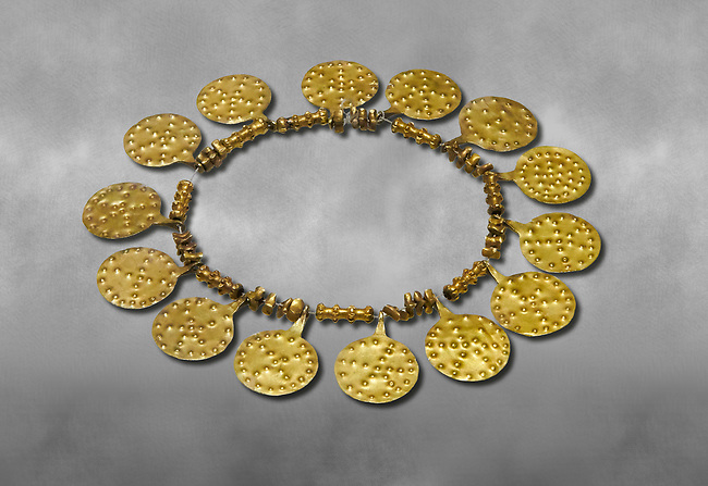 Bronze Age Hattian gold necklace from Grave E,  possibly a Bronze Age Royal grave (2500 BC to 2250 BC) - Alacahoyuk - Museum of Anatolian Civilisations, Ankara, Turkey