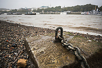 Rusty mooring by the River Thames, South Bank, London, England