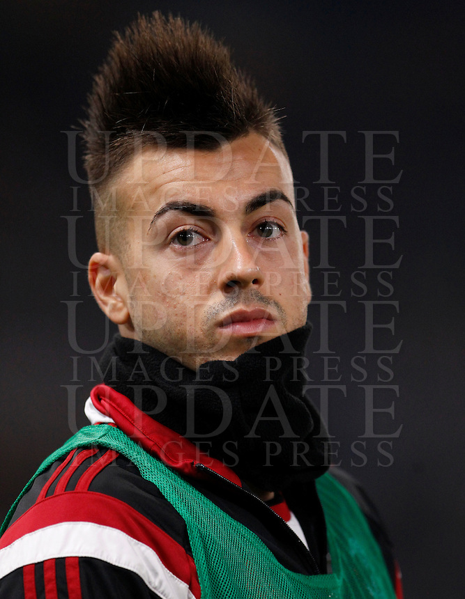 Calcio, Serie A: Roma vs Milan. Roma, stadio Olimpico, 20 dicembre 2014.<br /> AC Milan&rsquo;s Stephan El Shaarawy looks on during the Italian Serie A football match between AS Roma and AC Milan at Rome's Olympic stadium, 20 December 2014.<br /> UPDATE IMAGES PRESS/Riccardo De Luca