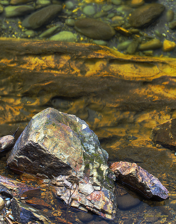 Colorful Smokies streambed as seen from above.
